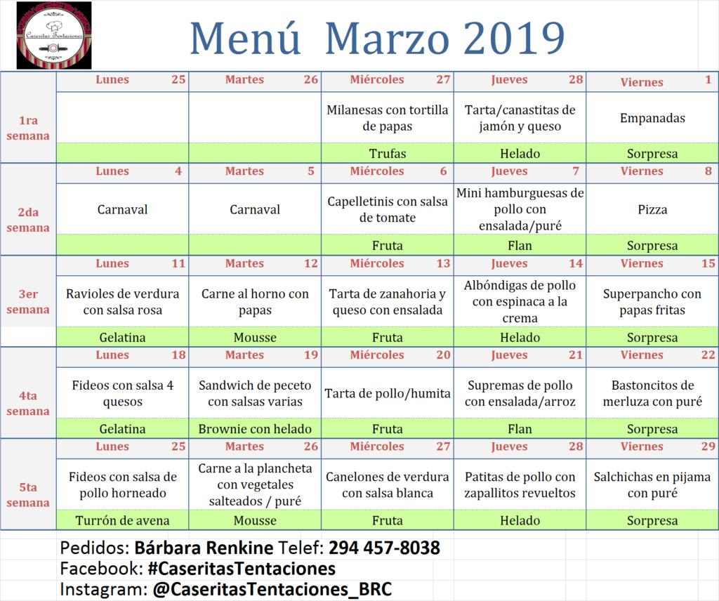 Colegio San Patricio menú 2019